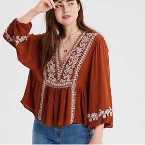 American Eagle Embroidered Top